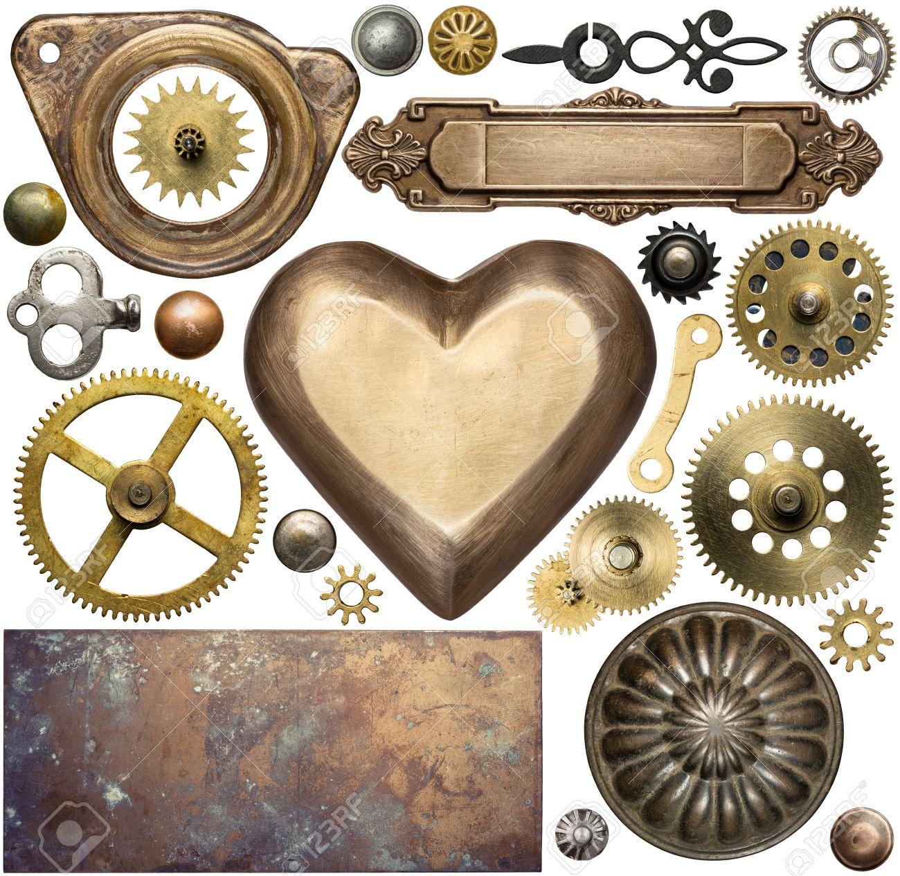 Vintage metal details, textures, clock gears. Steampunk design elements. Stock Photo - 44384805