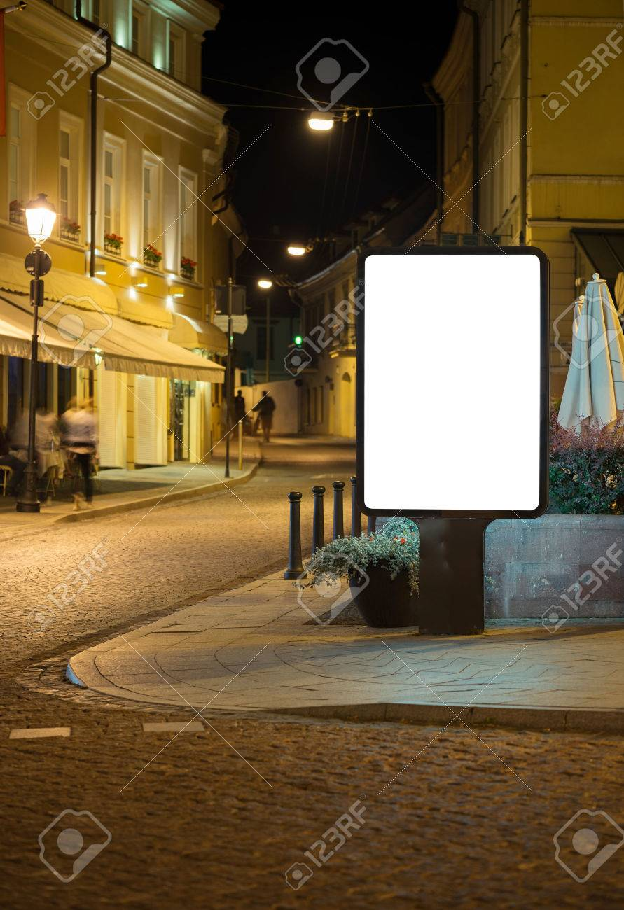 Blank advertising billboard in old town at night. Stock Photo - 44384870