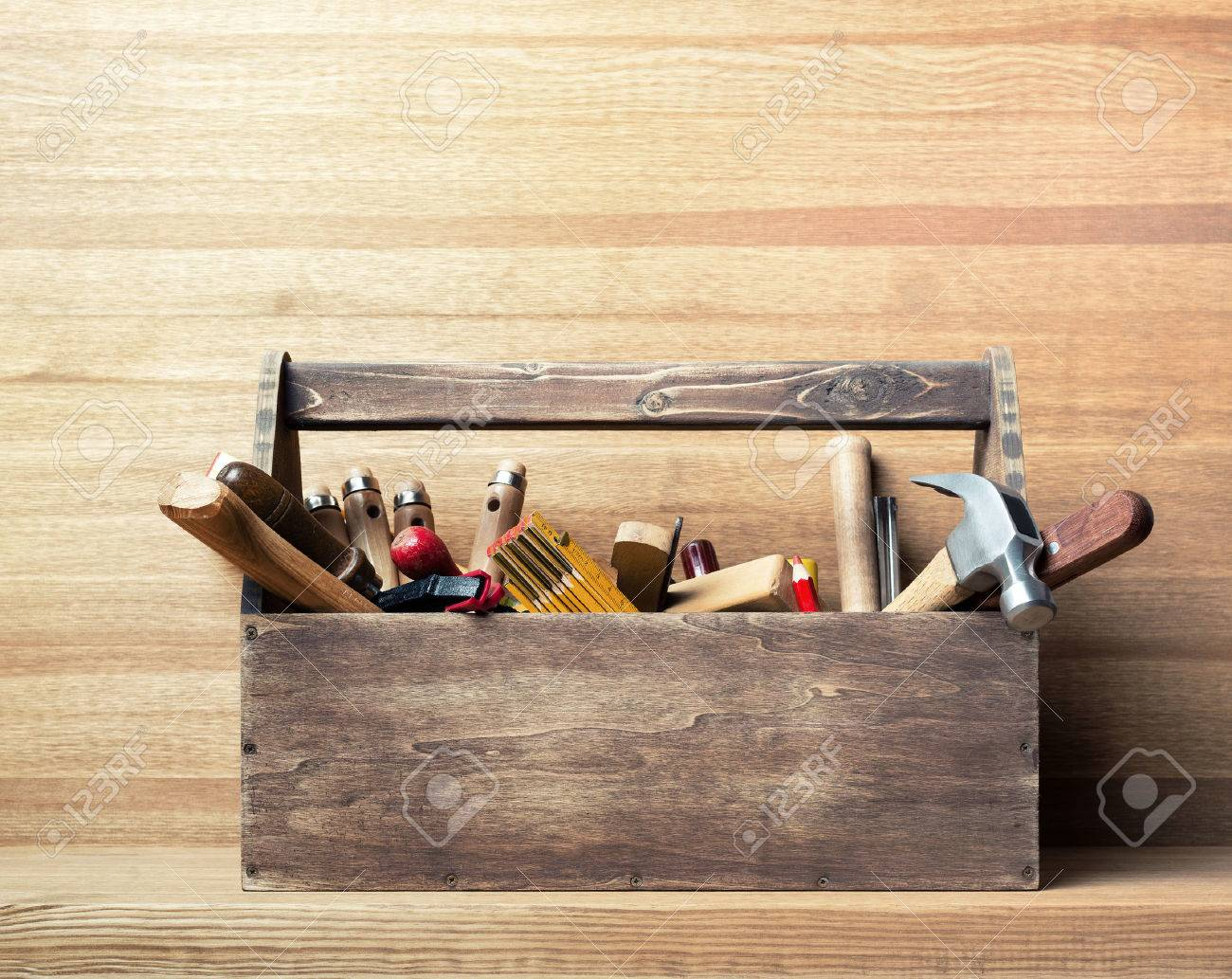 Wooden toolbox on the table Stock Photo - 44384955