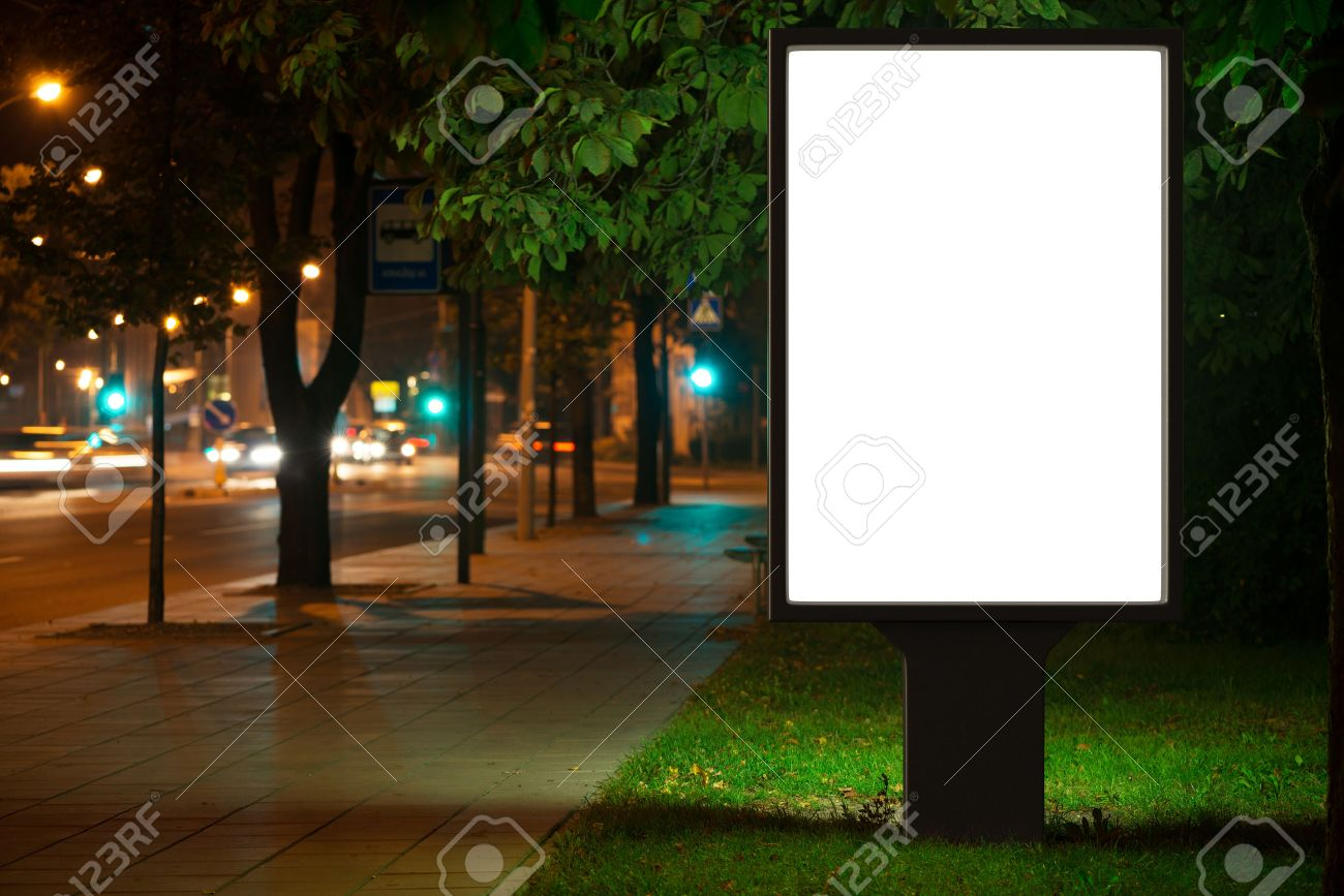 Blank advertising billboard in the city at night. Stock Photo - 44384958