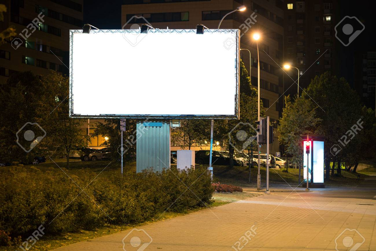 Blank advertising billboard in the city at night. Stock Photo - 44384986