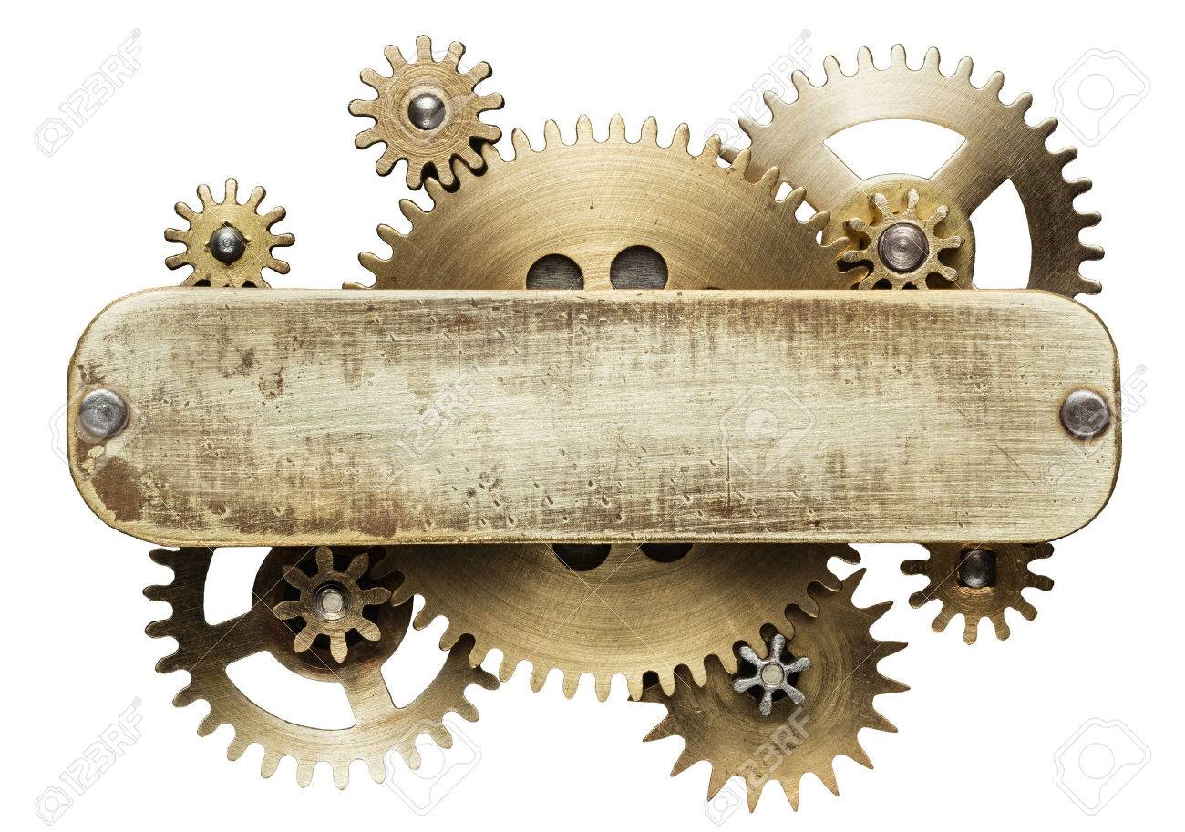 Metal collage of clockwork gears isolated on white background Stock Photo - 48054326