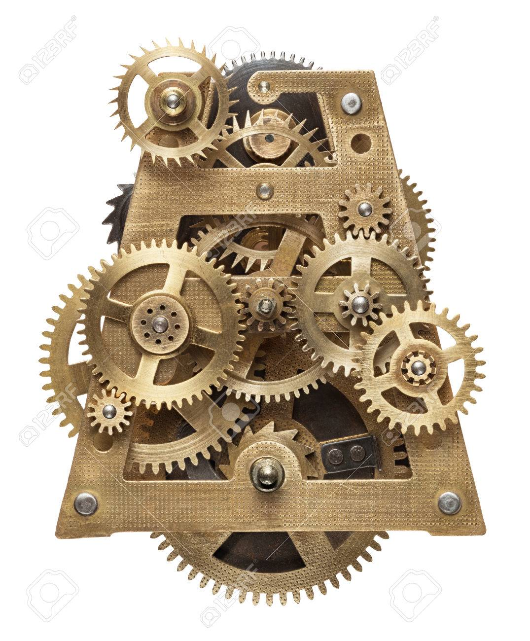 609ecbc1eeb Metal collage of clockwork gears isolated on white background Stock Photo -  48054328