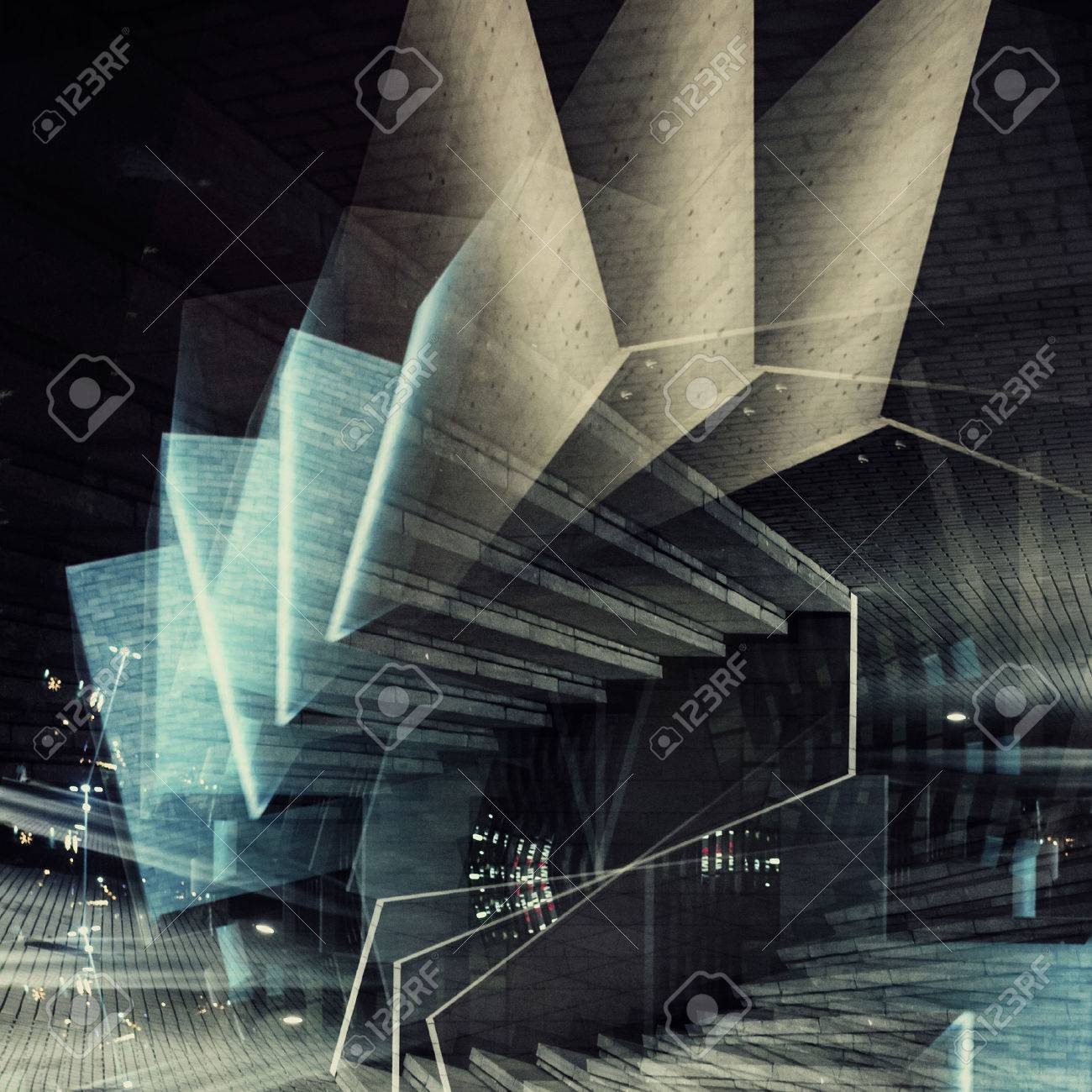 Abstract multiple exposure background. Architectural forms. Stock Photo - 48054339