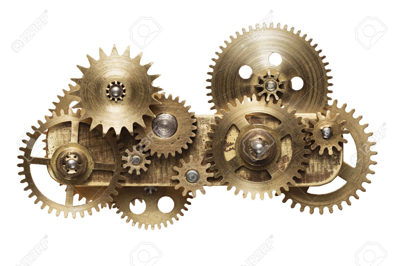 Metal collage of clockwork gears isolated on white background Stock Photo - 48054373