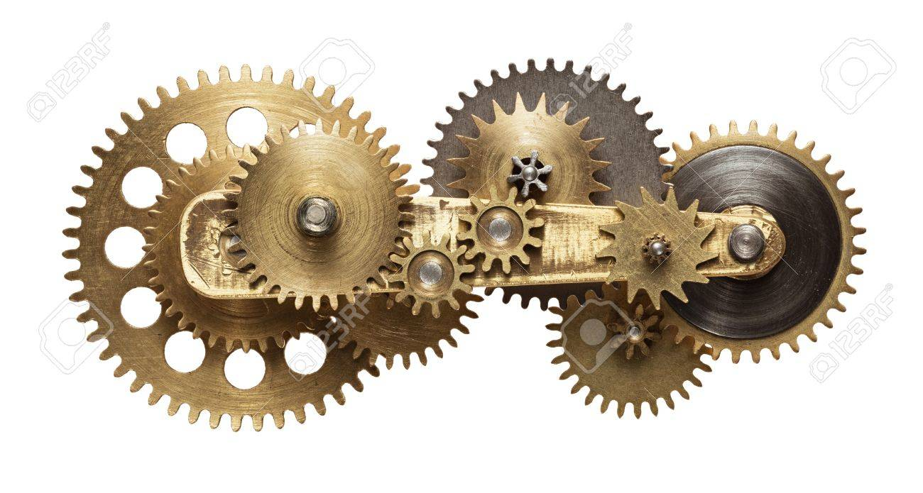 Metal collage of clockwork gears isolated on white background Stock Photo - 48054379