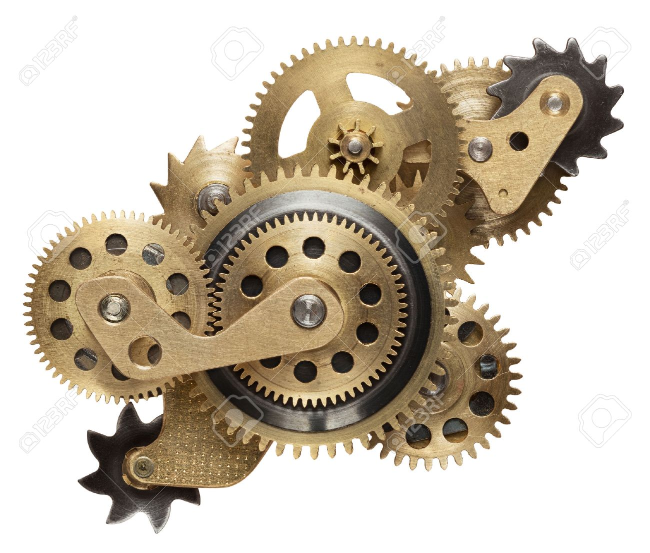 52b2cd016af Metal collage of clockwork gears isolated on white background Stock Photo -  48054528