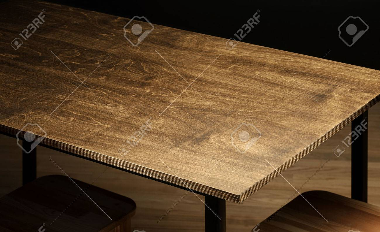 Empty rough wooden table top in the dark room Stock Photo - 48055076