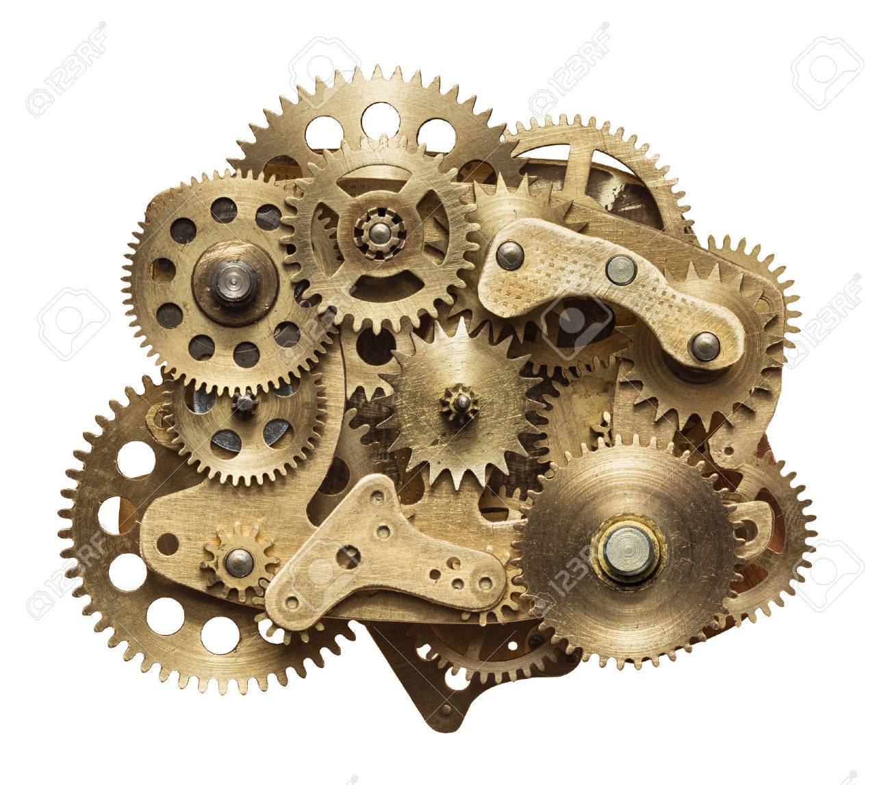 Metal collage of clockwork gears isolated on white background Stock Photo - 48055081