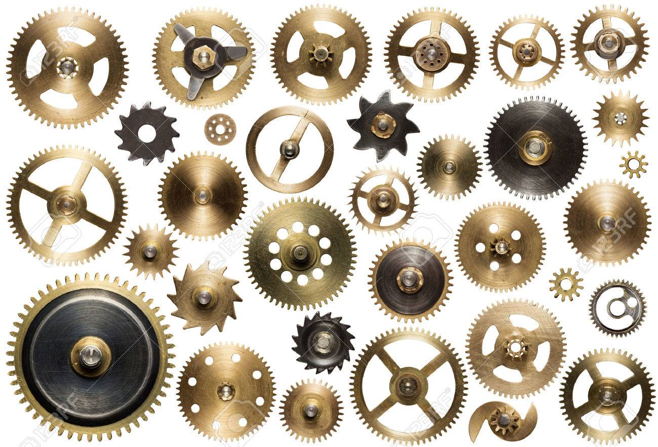 Clockwork spare parts. Metal gear, cogwheels and other details. Stock Photo - 48055084