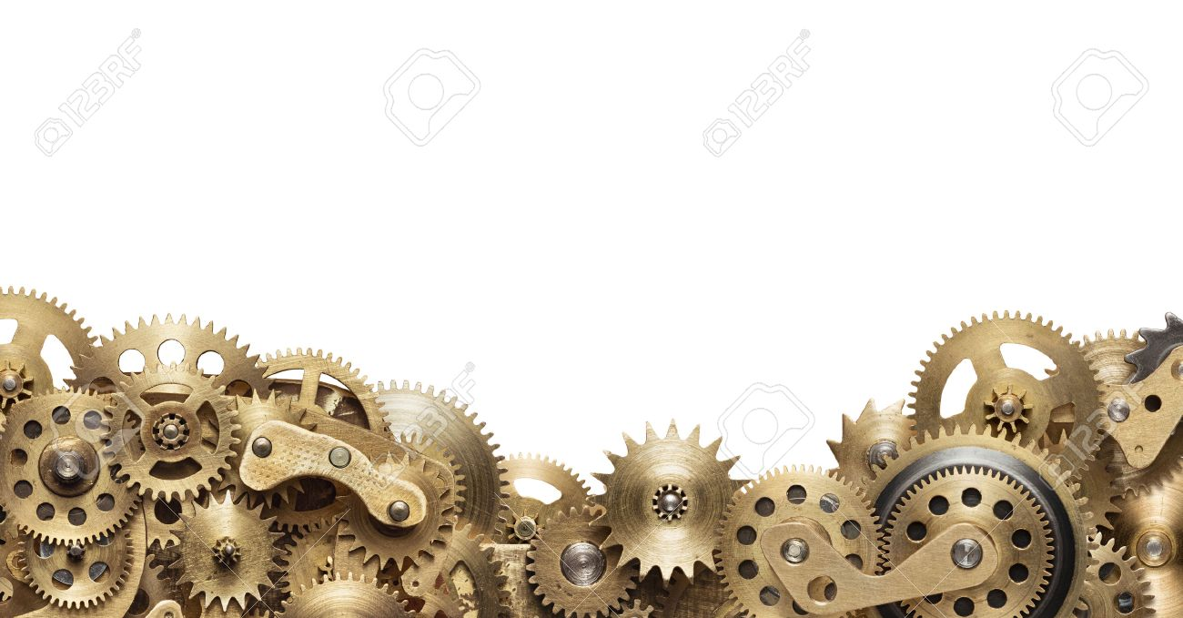 Mechanical collage made of clockwork gears on white background Stock Photo - 48055092