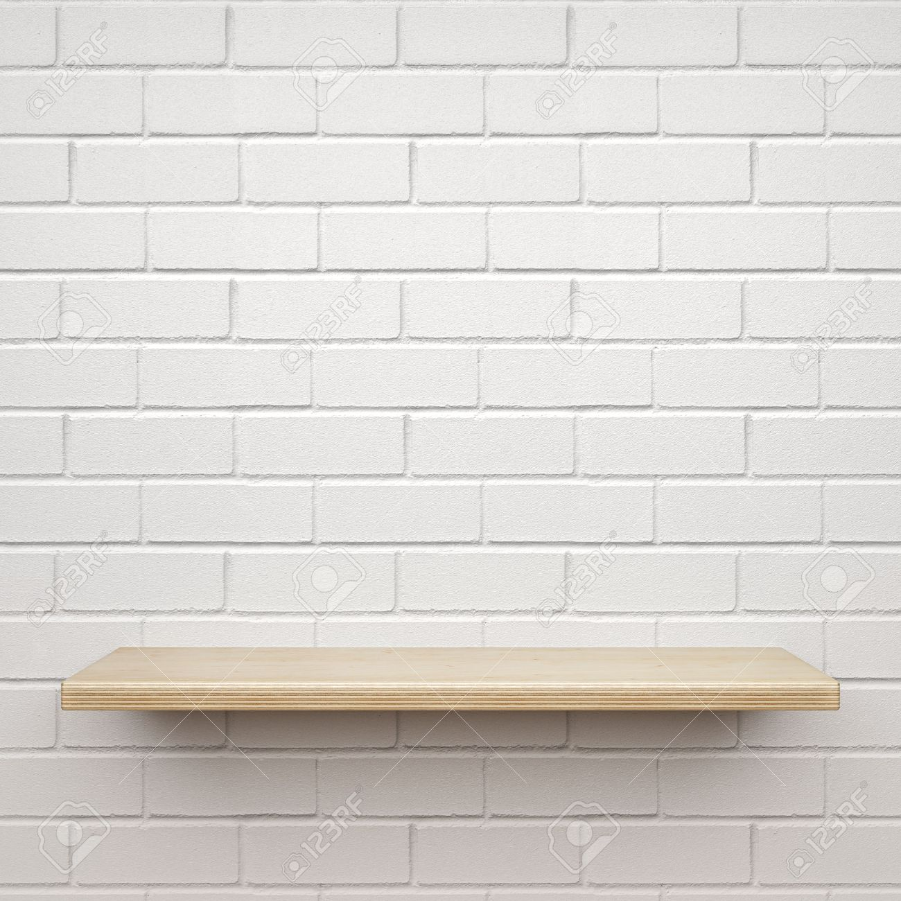 Empty wooden shelf on white brick wall Stock Photo - 53616423