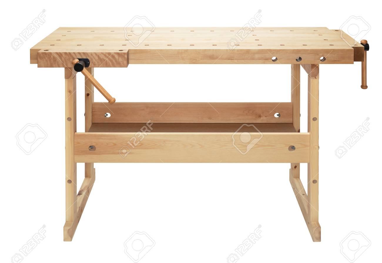 Holzwerkbank Mit Schraubstock Holzverarbeitung Werkstatt Tisch Auf Weissem Hintergrund Isoliert Lizenzfreie Fotos Bilder Und Stock Fotografie Image 61093001