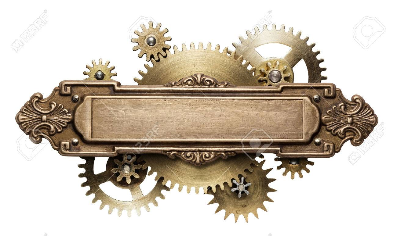 Stylized mechanical steampunk collage. Made of metal frame and clockwork details. Stock Photo - 61093069