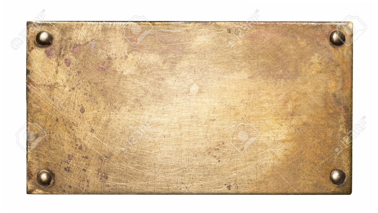 Brass plate texture. Old metal background with rivets. Stock Photo - 63825601