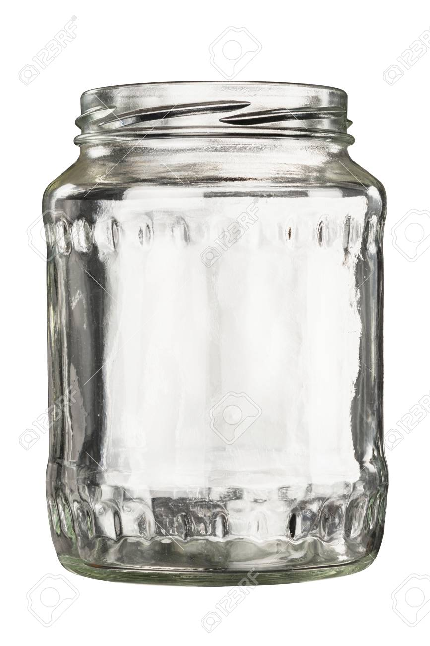 open empty glass jar isolated on white stock photo picture and