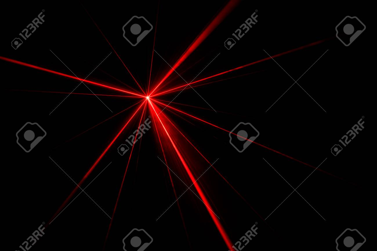 Red laser beam light effect on black background, photo. - 87902222