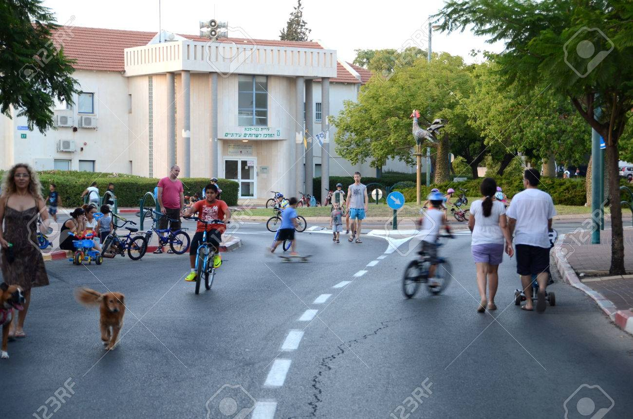 KFAR SABA, ISRAEL - SEPT 14: People celebrating Yom Kippur (Day