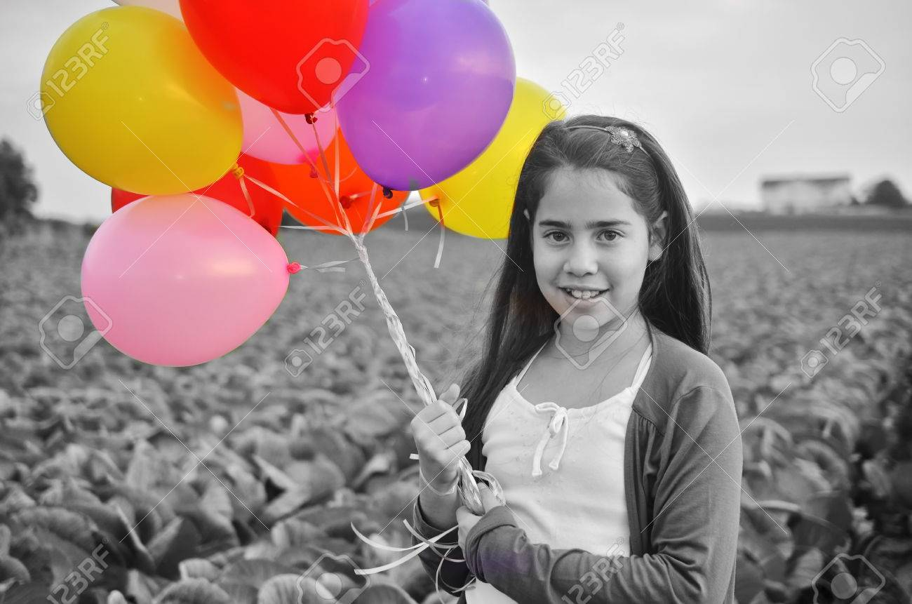 A Teenage Girl In Black And White With Colorful Balloons Digital