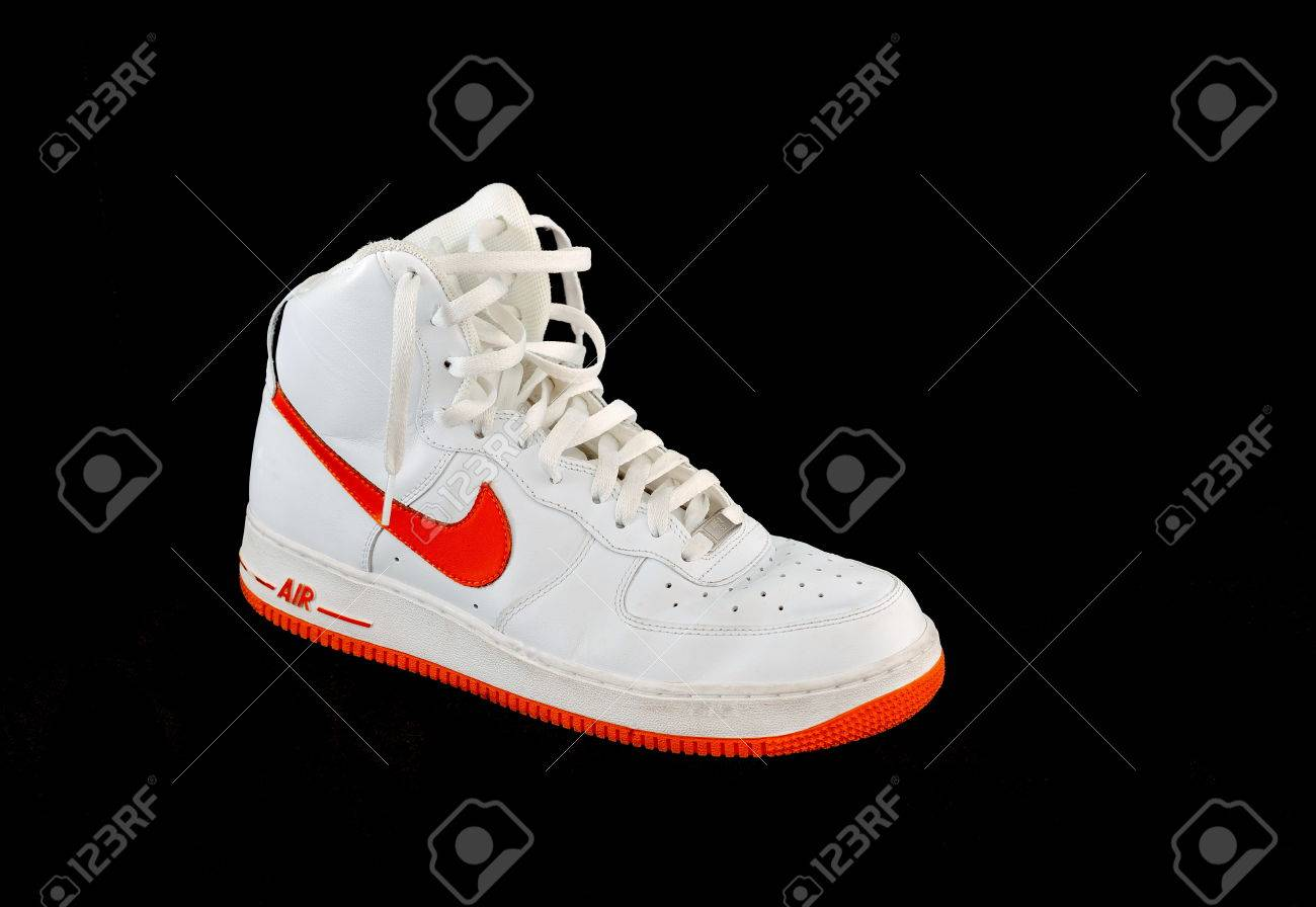 A high-top classic Nike AF-1 Air Force 1 white and orange leather