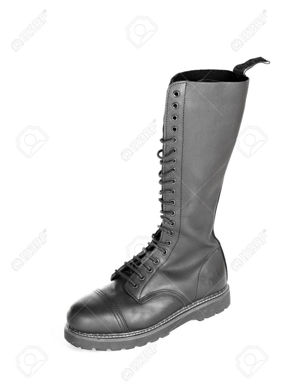 2f7a66d2ccf New tall lace-up knee-high black leather boot featuring 20 eyelets..