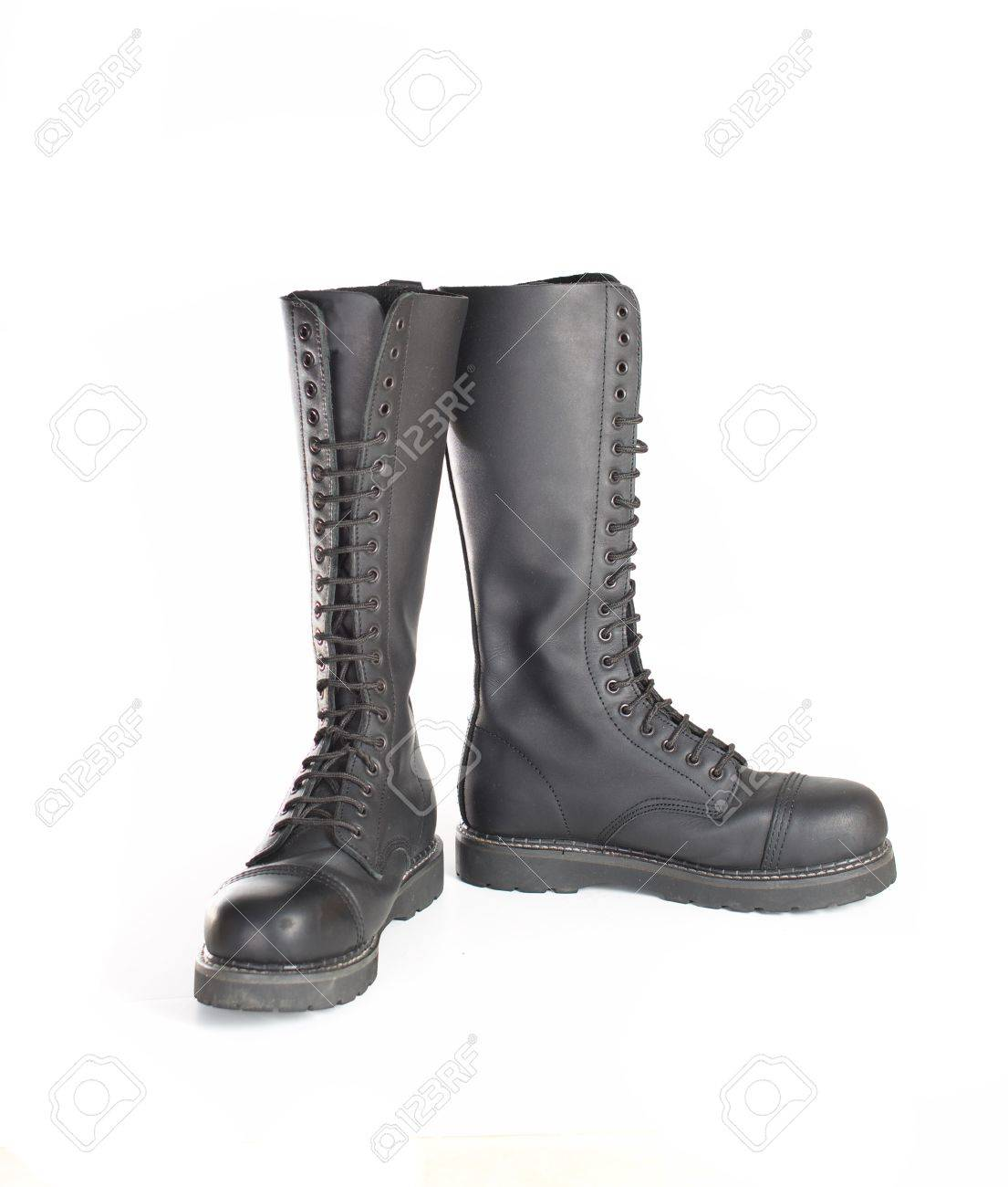 a227701643c New tall lace-up knee-high black leather boots featuring 20 eyelets..