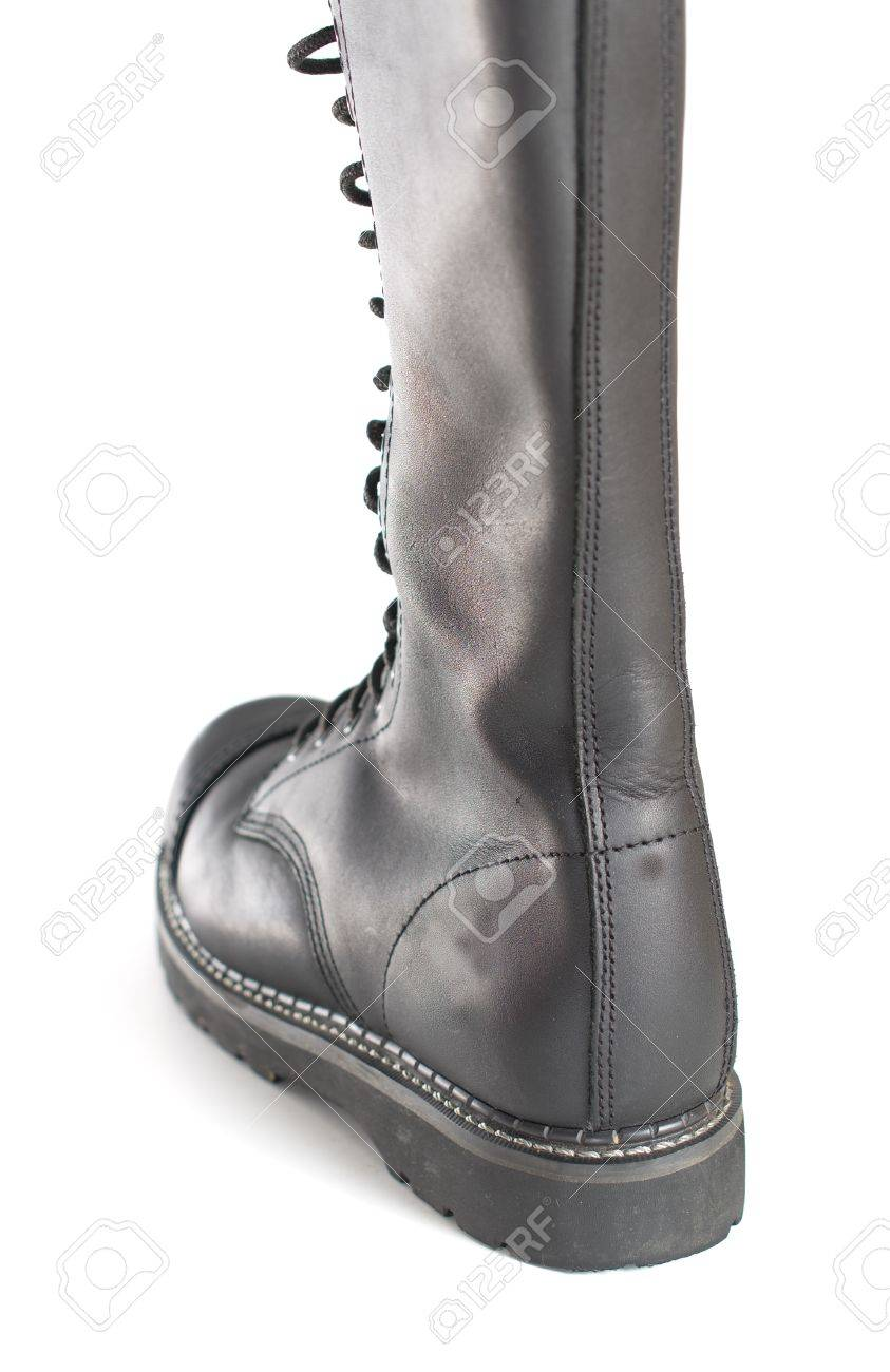 50090e8f0d6 Back of a new tall lace-up knee-high black leather boot featuring..
