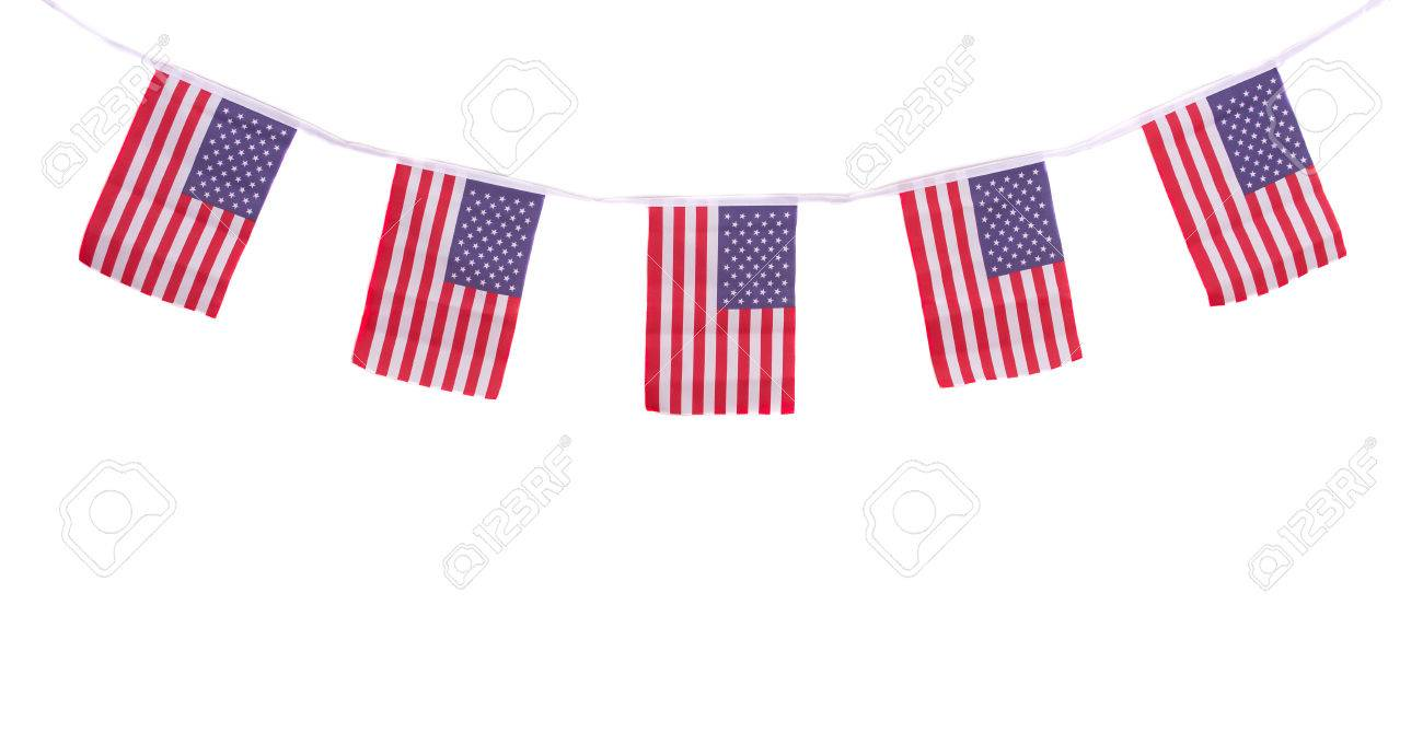 A Chain Garland Bunting Of USA Flags Hanging Proudly For July ...