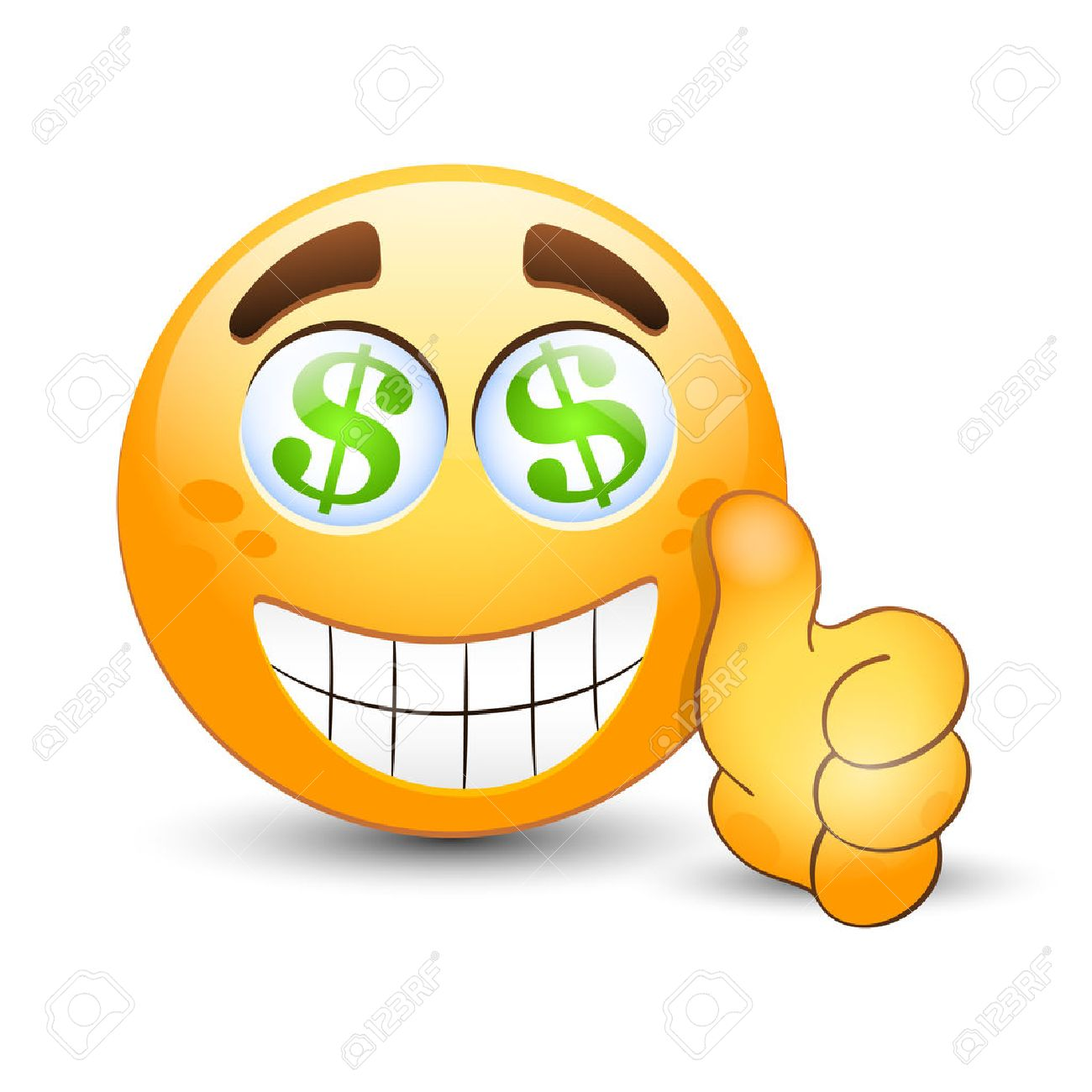 Vector emoticon with thumb up and dollar sign in the eyes - 42964861