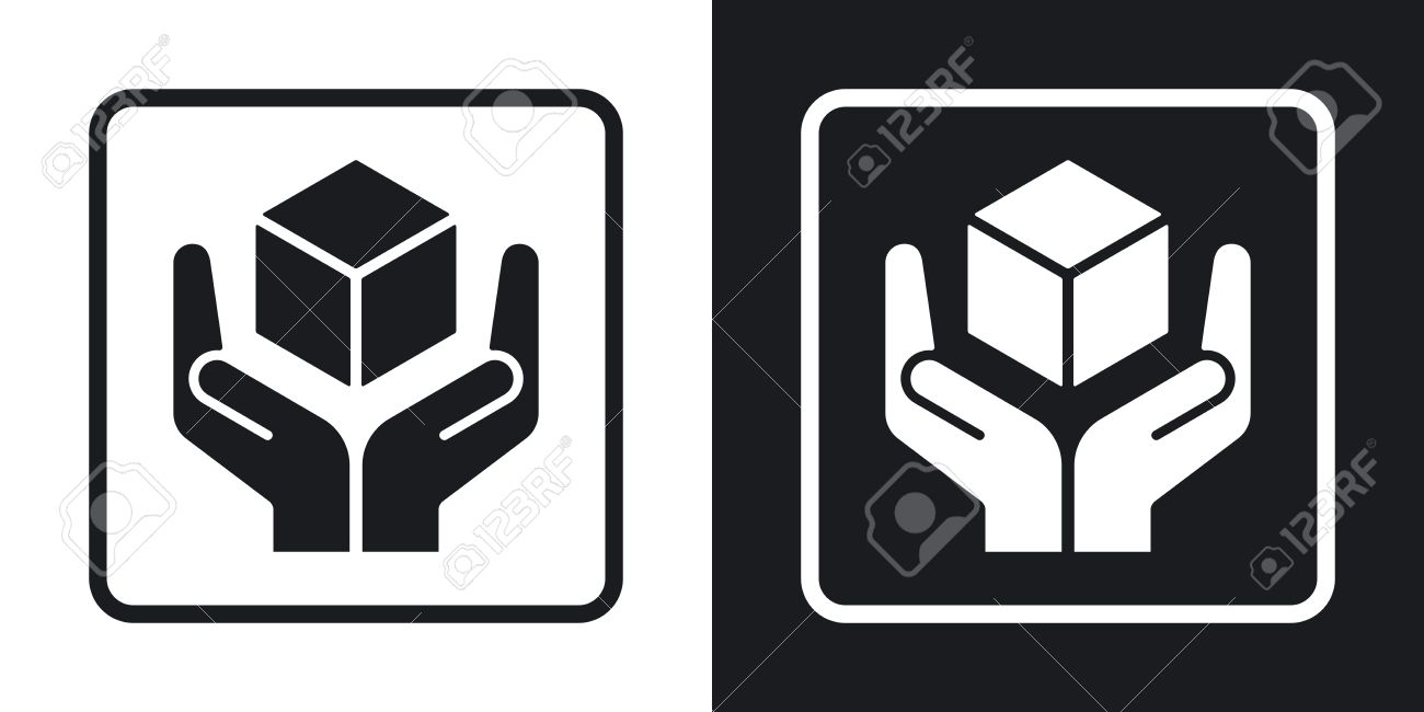 Handle with care packaging symbol two tone version on black handle with care packaging symbol two tone version on black and white background stock buycottarizona