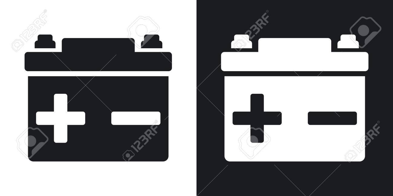 Vector Car Battery Icon. Two-tone Version On Black And White ... for Car Battery Symbol  104xkb