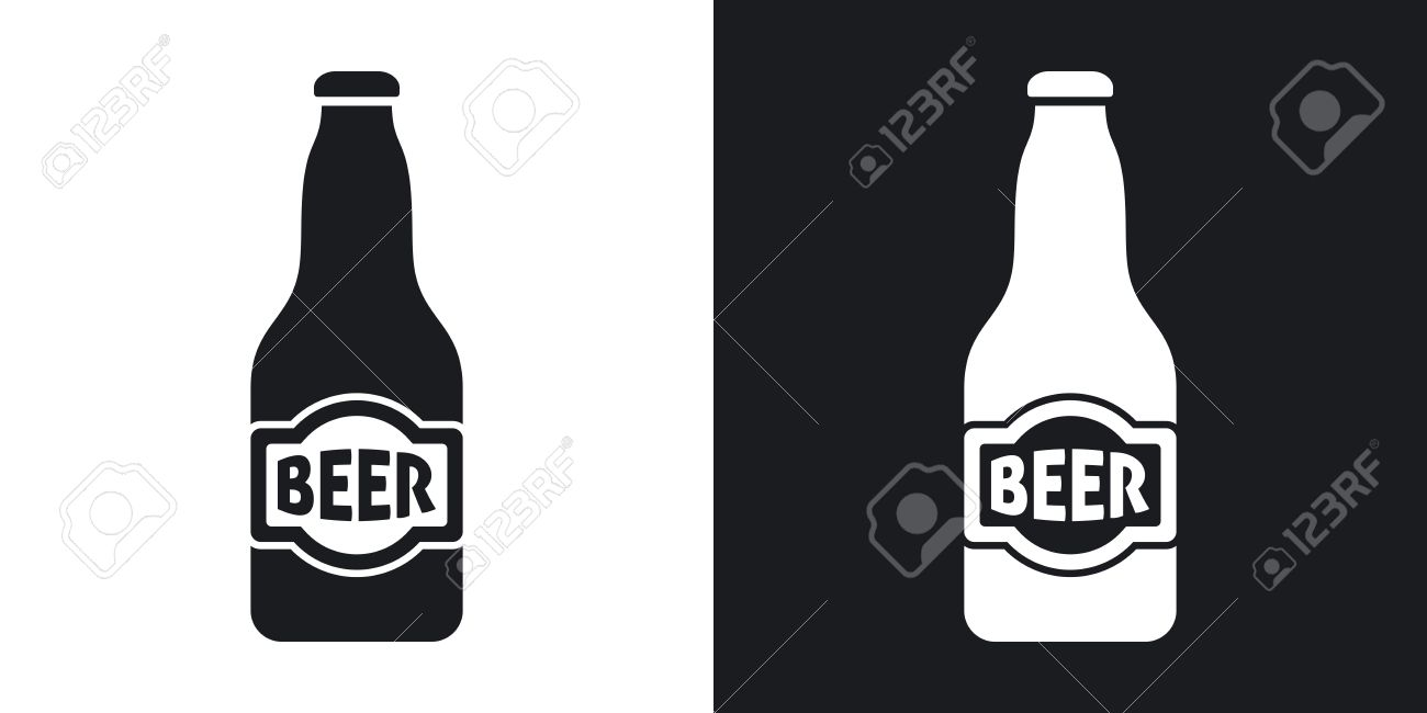 vector beer bottle icon two tone version on black and white rh 123rf com free vector beer bottles free vector beer bottle silhouette
