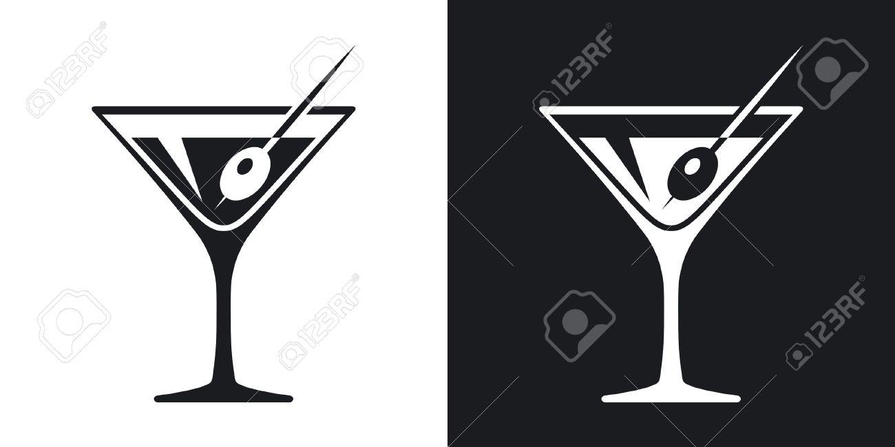 Top Vecteur Verre De Martini Icône. Version Bicolore Sur Fond Noir Et  XB69