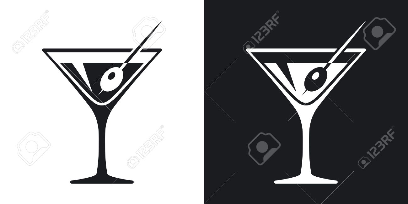 Vector martini glass icon. Two-tone version on black and white background - 55487467