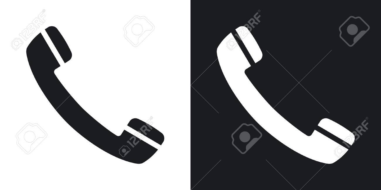 Vector phone icon  Two-tone version on black and white background