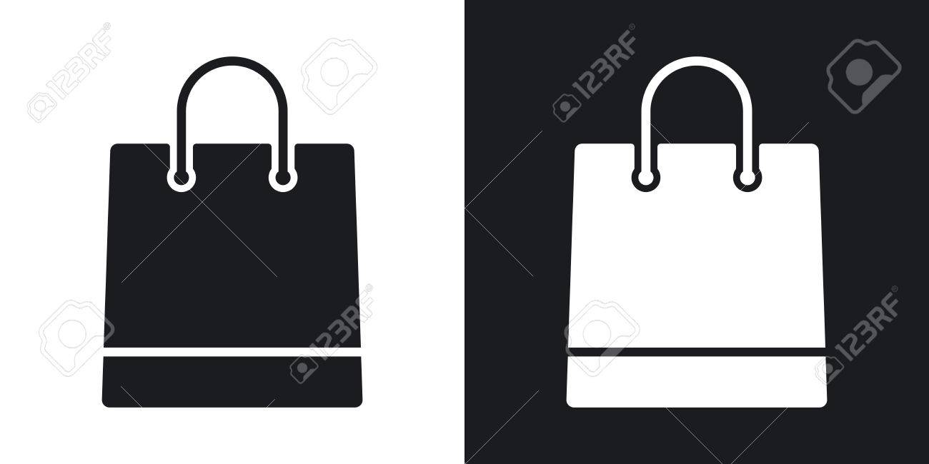 Vector Shopping Bag Icon Two Tone Version On Black And White
