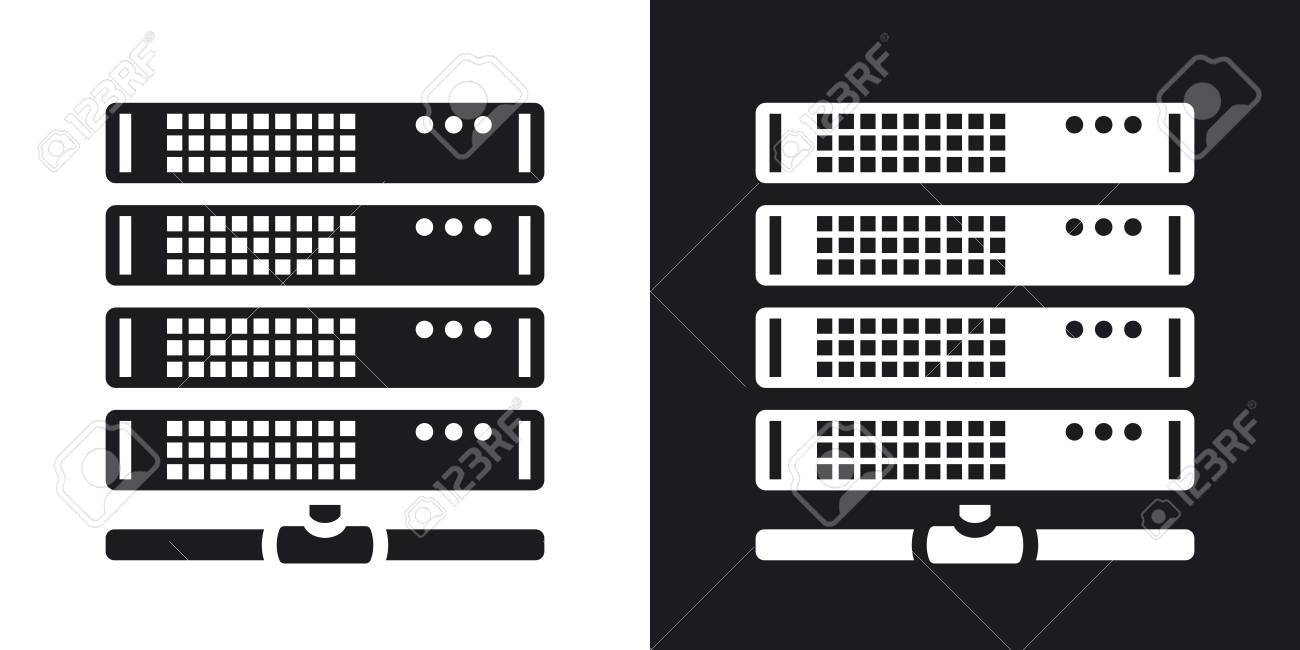 Vector server icon  Two-tone version on black and white background