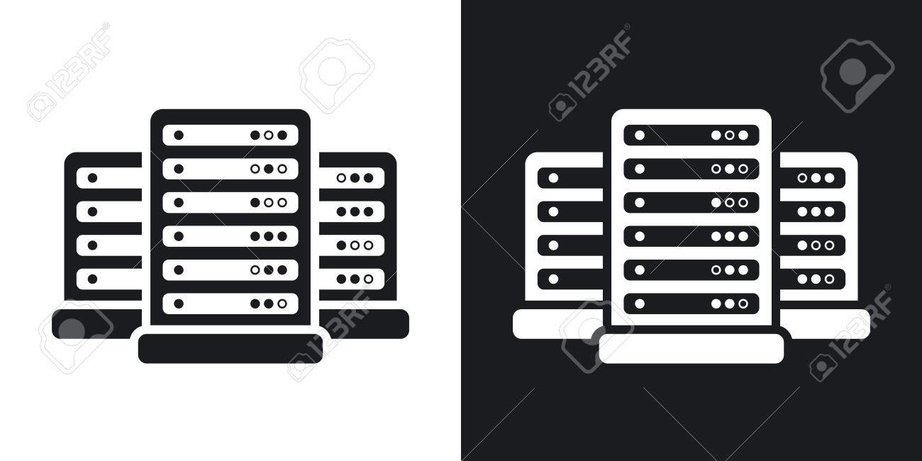 Vector data center icon. Two-tone version on black and white background - 55697366