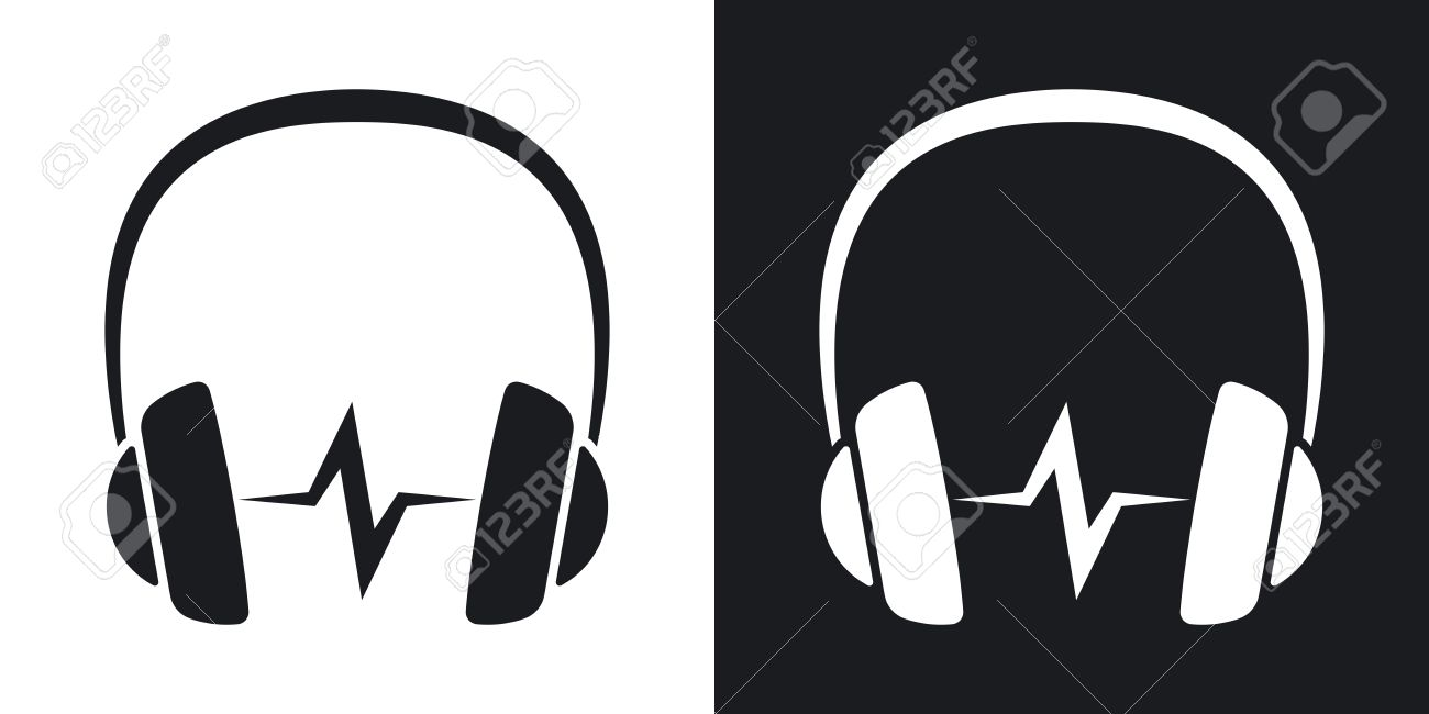 vector headphones icon with sound wave two tone version on black