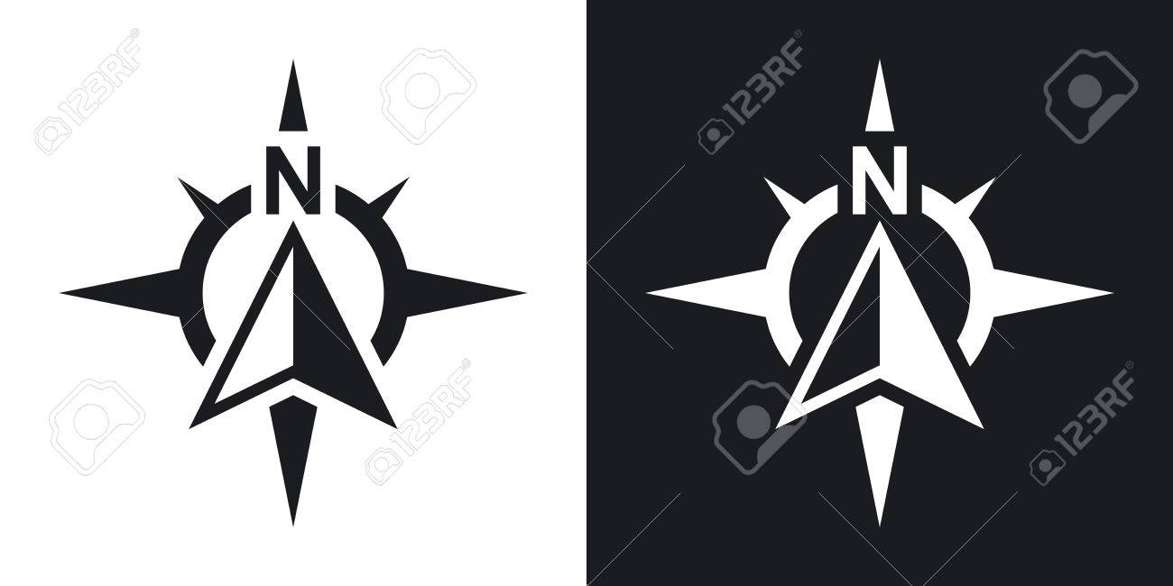 Compass concept icon, vector. Two-tone version on black and white background - 55751029