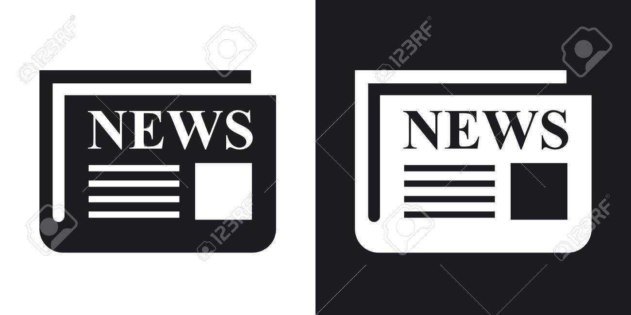 newspaper icon. two-tone version on black and white background