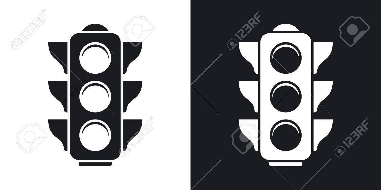 Traffic Light Icon. Two-tone Version On Black And White Background ... for stop light black and white  45gtk