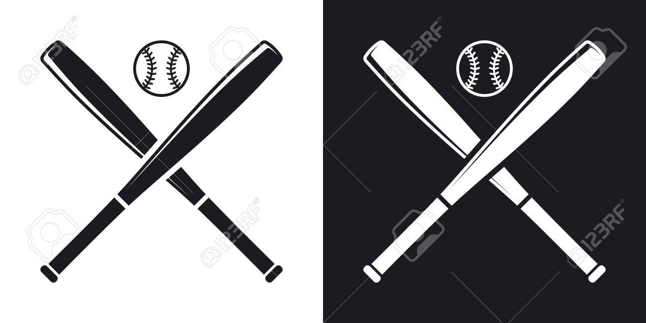 vector baseball bats and ball icon two tone version on black rh 123rf com Baseball Bats Cross Clip Art Religious Baseball Bat Clip Art