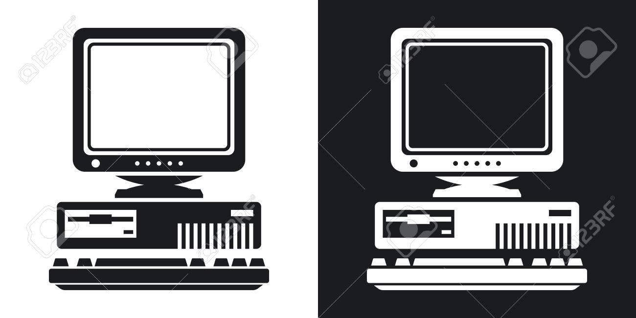 Vector Retro Computer Icon with Keyboard and CRT Monitor icon