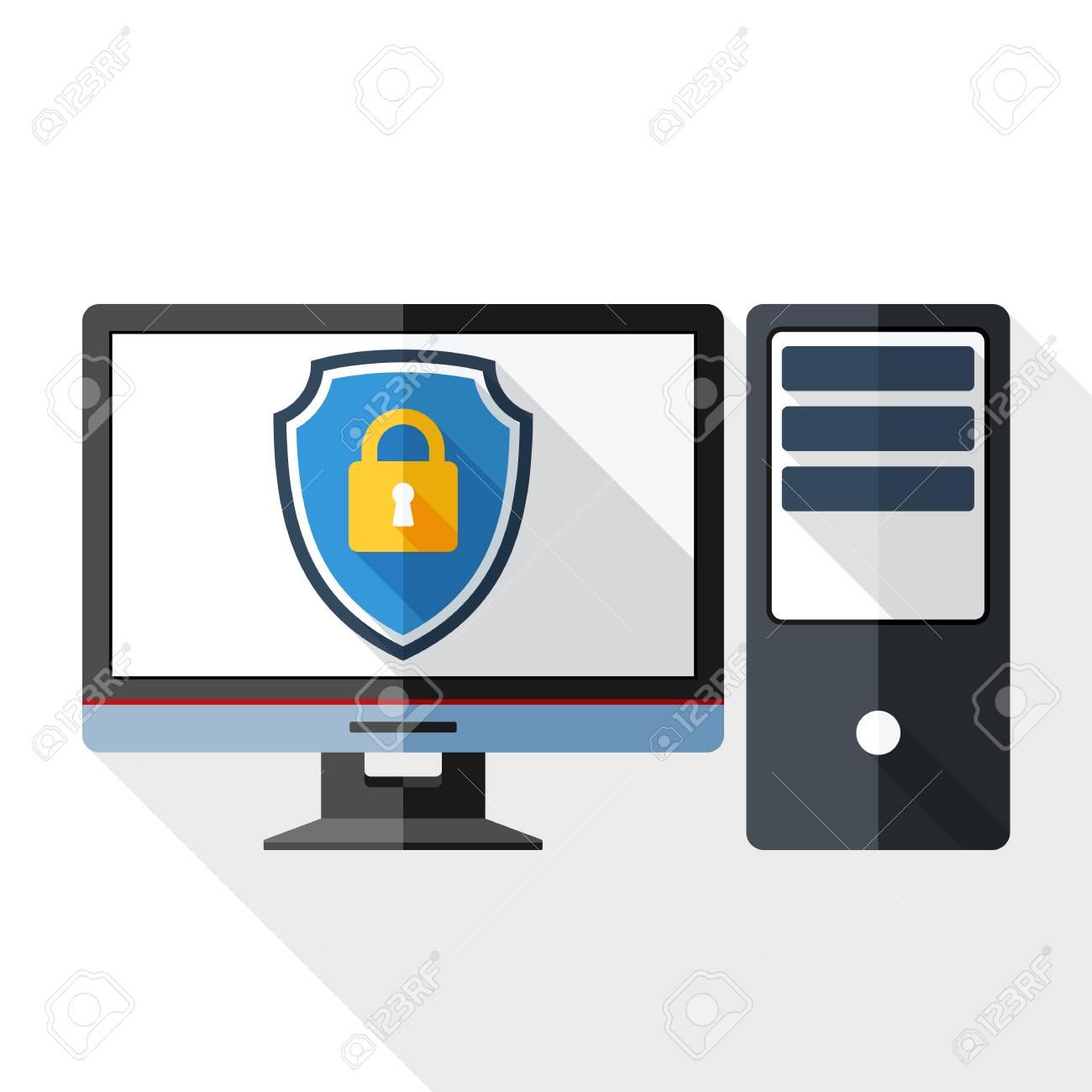 Vector Desktop Computer Icon With A Protective Shield Symbol