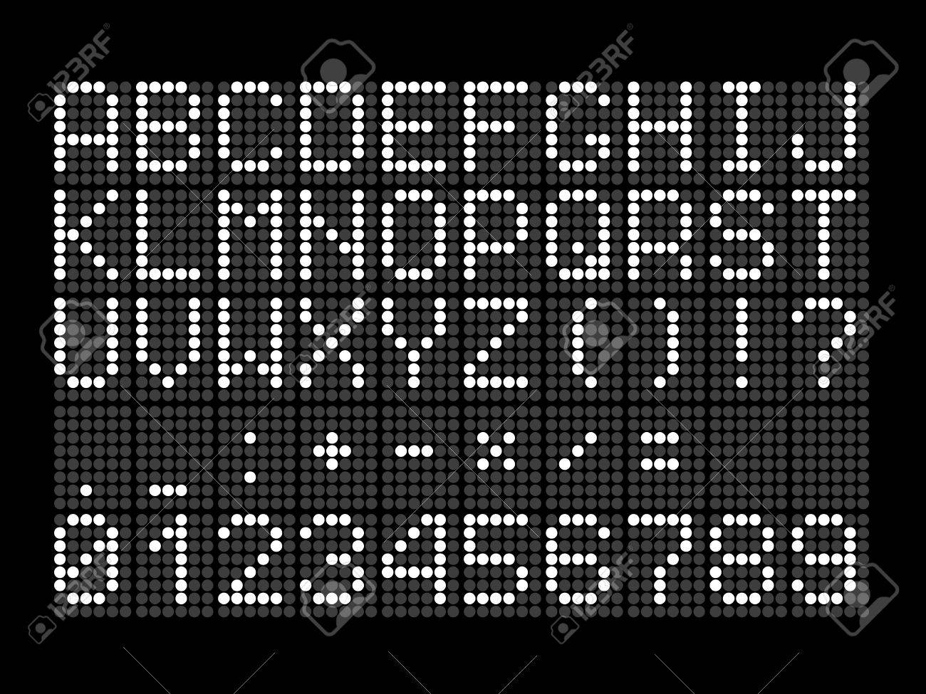 Digital dotted font with letters, numbers, mathematical symbols