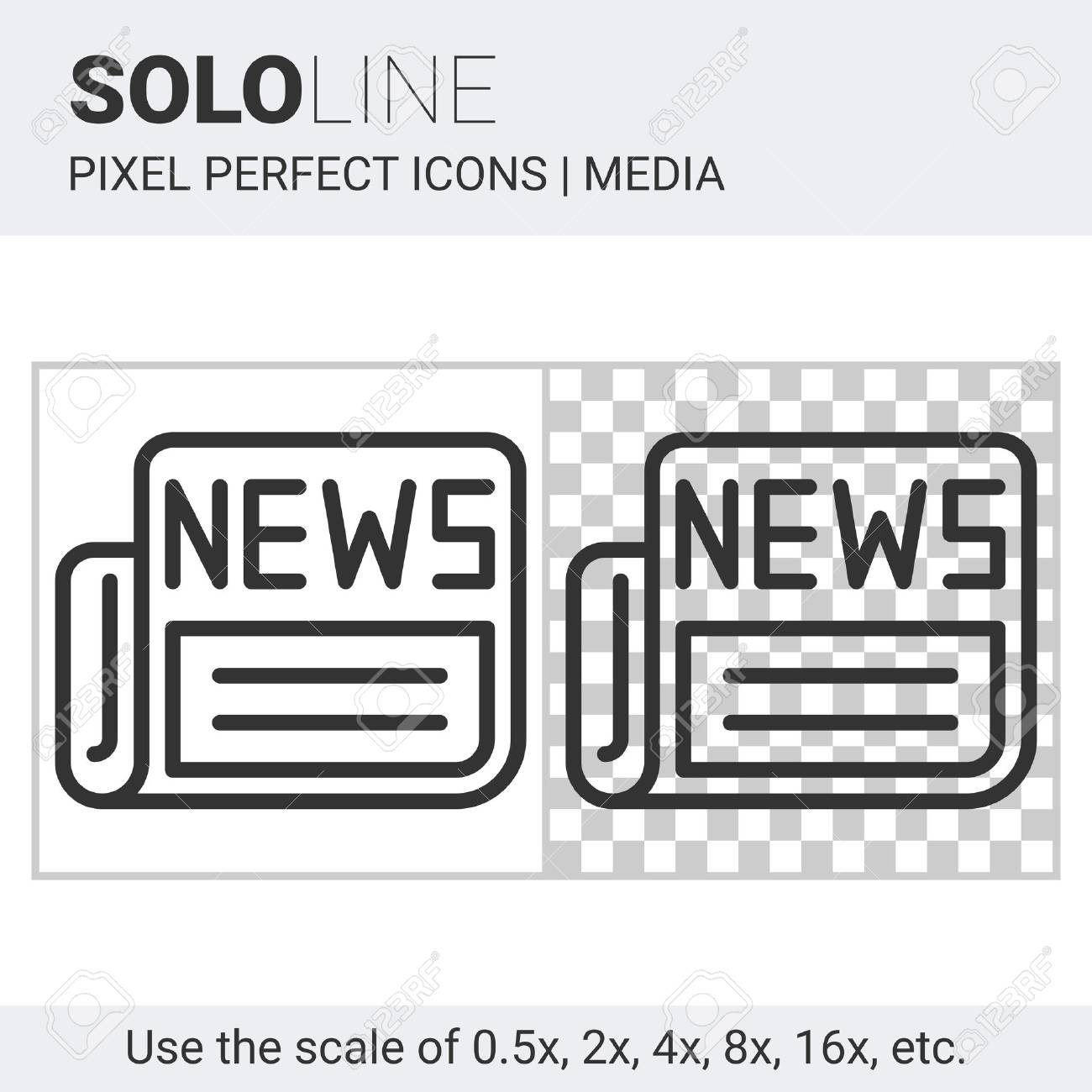 pixel perfect solo line newspaper icon on white and transparent