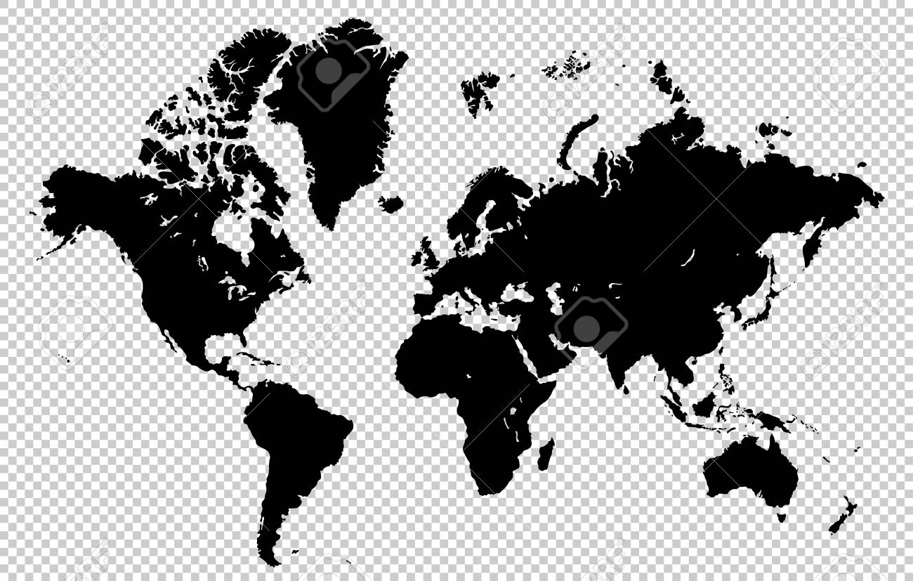 World Map Isolated On A Transparent Background Highly Detailed
