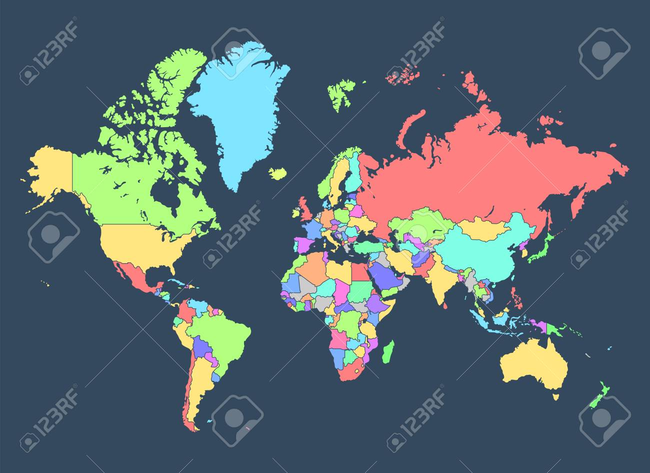 Political Map Of The World With Countries Separated By Colors ...