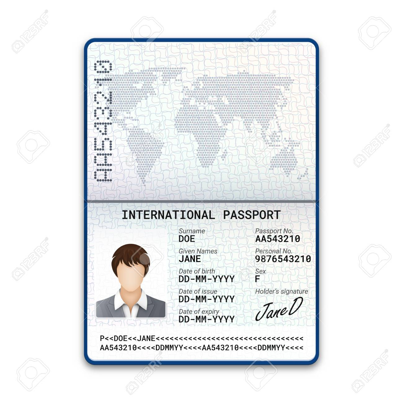 International female passport template with sample of photo,
